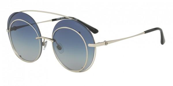 Giorgio Armani AR6043 30454L Matte Silver Frame/Blue Gradient Lens, Size 59mm Sunglasses