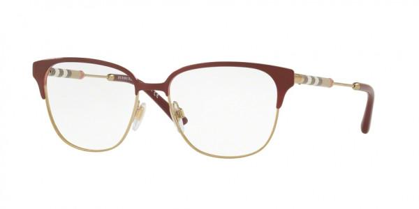 Burberry BE1313Q 1238 Bordeaux/Light Gold, Size 53mm Eyeglasses