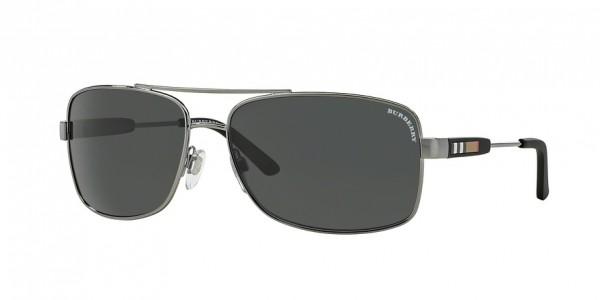 Burberry BE3074 100387 Gunmetal Frame/Gray Lens, Size 63mm Sunglasses