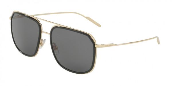 Dolce & Gabbana DG2165 488/81 Black/Pale Gold Frame/Polar Grey Lens, Size 58mm Polarized Sunglasses