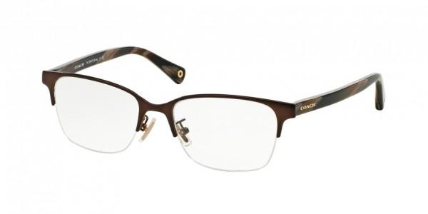 Coach EVIE HC5047 9163 Satin Brown/Dark Brown Horn, Size 50mm Eyeglasses