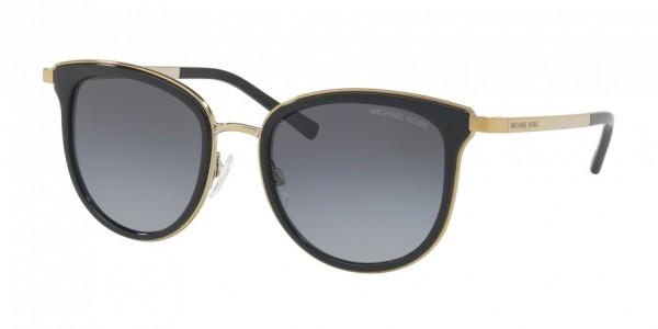 Michael Kors ADRIANNA I MK1010 1100T3 Black/Gold-Tone Frame/Grey Polarized Gradient Lens, Size 54mm Polarized Sunglasses