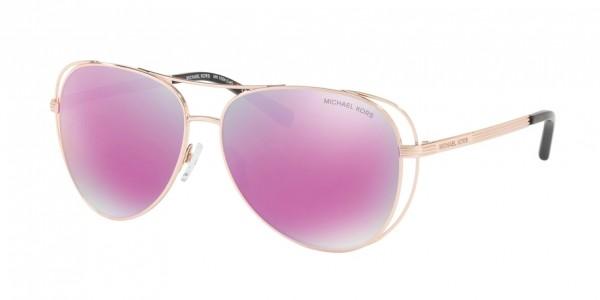 Michael Kors LAI MK1024 11944X Rose Gold-Tone Frame/Fuschia Mirror Lens, Size 58mm Sunglasses