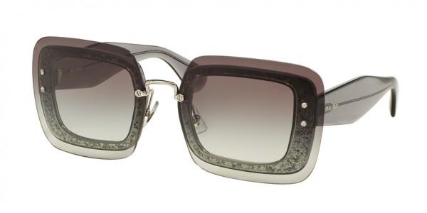Miu Miu SPECIAL PROJECT MU 01RS UES0A7 Transparent Grey Glitter Frame/Grey Gradient Lens, Size 67mm Sunglasses