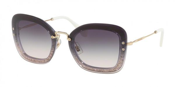 Miu Miu CORE COLLECTION MU 02TS 86LNJ0 Transp Dark Violet/Glitter Frame/Pink Gradient Dark Violet Lens, Size 65mm Sunglasses