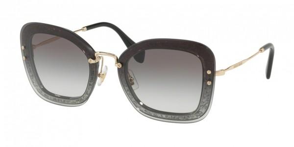 Miu Miu CORE COLLECTION MU 02TS UES0A7 Transparent Grey/Glitter Frame/Grey Gradient Lens, Size 65mm Sunglasses