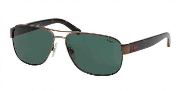 Polo PH3089 927271 Semishiny Dark Brown Frame/Green Lens, Size 60mm Sunglasses