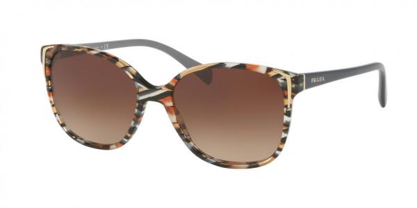 Prada CONCEPTUAL PR 01OS CO56S1 Havana/Ears Avio Blue Frame/Brown Gradient Lens, Size 55mm Sunglasses