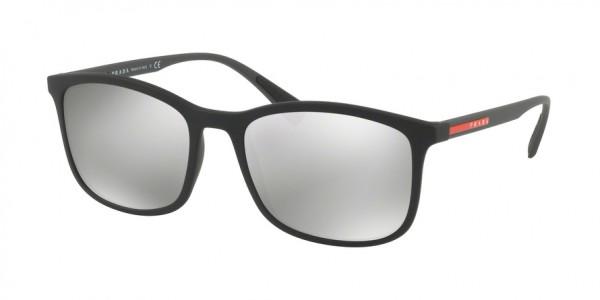 Prada Linea Rossa LIFESTYLE PS 01TS DG02B0 Black Rubber Frame/Light Grey Mirror Silver Lens, Size 56mm Sunglasses