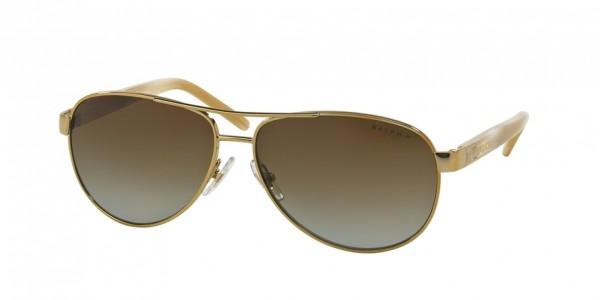 Ralph RA4004 101/T5 Gold/Cream Frame/Polar Brown Gradient Lens, Size 59mm Polarized Sunglasses