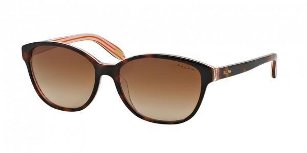 Ralph RA5128 977/13 Amber/Orange Stripes Frame/Brown Gradient Lens, Size 55mm Sunglasses