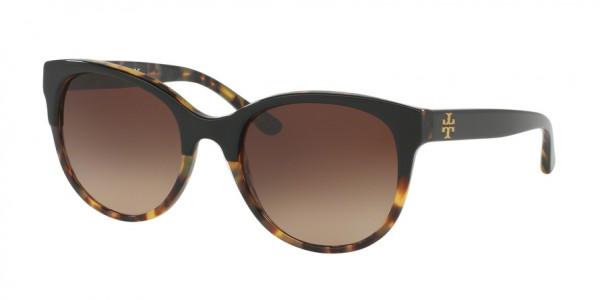 Tory Burch TY7095 160113 Black/Tort Frame/Dark Brown Gradient Lens, Size 54mm Sunglasses