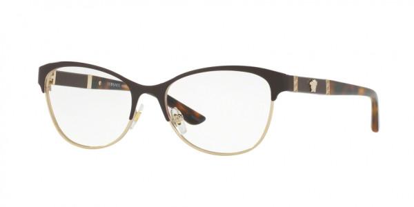 Versace VE1233Q 1344 Brown/Pale Gold, Size 53mm Eyeglasses