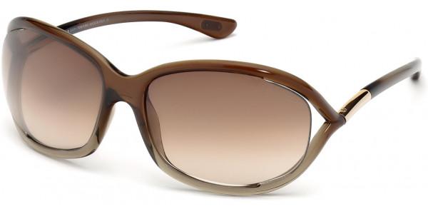 Tom Ford FT0008 38F Shiny Transparent Bronze Frame/Gradient Brown Lens, Size 61mm Sunglasses