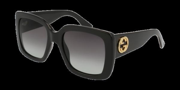 Gucci GG0141S 001 Black Frame/Grey Lens, Size 53mm Sunglasses